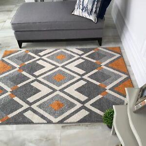 Rust Orange Graphite Grey Aztec Lounge