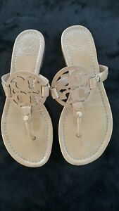 Tory-Burch-Miller-Patent-Leather-Sandals-Sand-Size-8