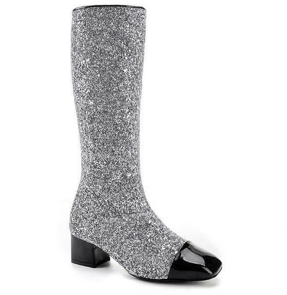 womens Sequins Mid Block Heel Square Toe Fashion Pull On Mid Calf Boots shoes