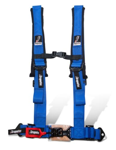 """Dragonfire DFR Safety Seat Belt Harness H Style 4 Point 2/"""" Blue Universal"""