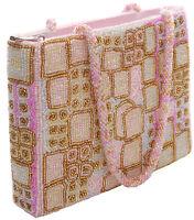 Perlentasche  rosa gold pink  tausende von Perlen Handtasche Abend Tasche Clutch