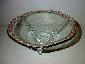 JUGENDSTIL-ART-DECO-Edle-Kleine-Glas-Schale-Pressglas-Farblos-Dia-16-cm-gt