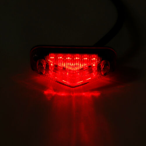 White Red Lens Triangle Bright LED Motorcycle Running Brake Stop Light Black