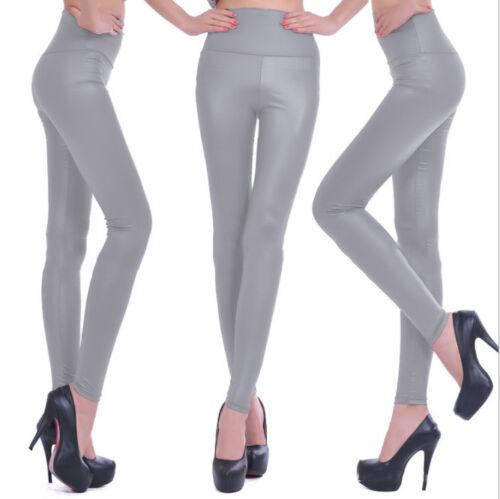 Women/'s Clothing Shiny Leather Slim Long Leggings Winter Warm High Waist Pants