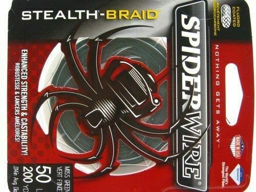 Spiderwire Scs50g-200 50lb Stealth Braid Line 200yds Moss Green for sale online