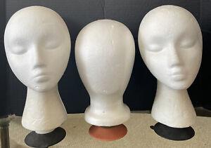 Vtg 3 Kartiganer Mannequin Heads Form Styrofoam Child women hat wig 60's MCM art