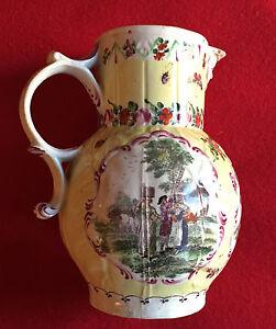 Antique-18th-century-Worcester-Porcelain-Cabbage-Leaf-Pitcher-Jug-Mask-1765