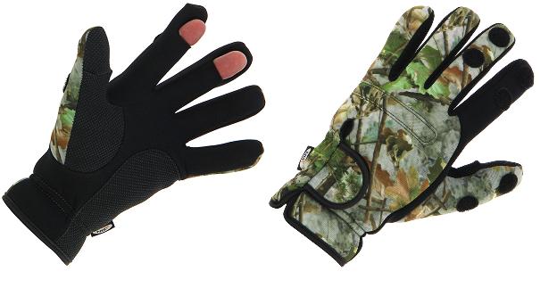 Neoprene Camo Gloves Folding Fingers, Fishing - Shooting - Hunting - M L XL  NGT