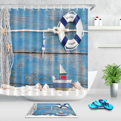 "60//72/"" Blue Green Mermaid Scales Waterproof Fabric Bath Shower Curtain Hooks Set"