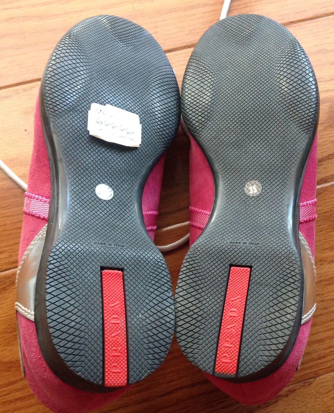 Prada Women  women women women Pink Fuchsia Pink Silver Suede Leather Sneakers shoes b480af