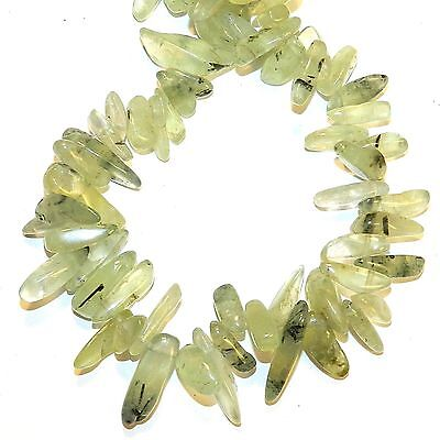 NG2658 Green Prehnite 18mm Top-Drilled Briolette Hawaiian Chip Gemstone Beads