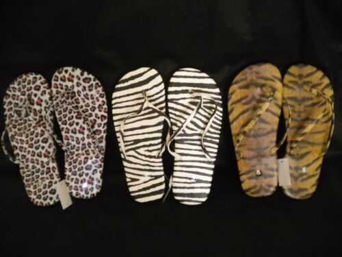 Women/'s Animal Print Flip Flops Red /& Black LEOPARD Flip Flops Size 5 7