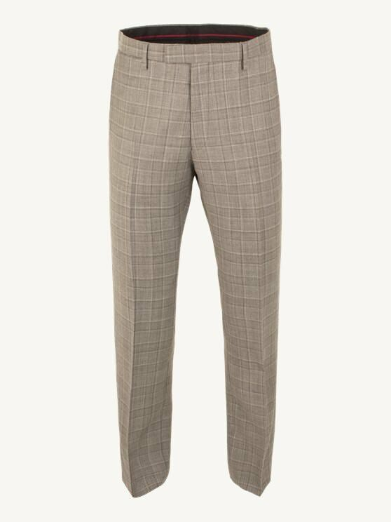 Mens Gibson London Taupe Check Suit Trousers W38 Long CS075 FF 10
