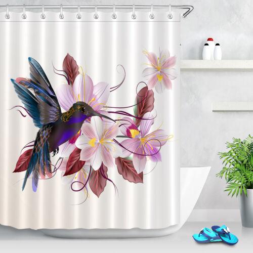 "Hummingbird Flower Shower Curtain Set Bathroom Extra Long Curtains Fabric 71//79/"""