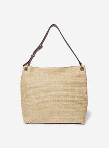 Dorothy Perkins Womens Gold Raffia Hobo Bag Internal Zip Pocket Magdot Closure