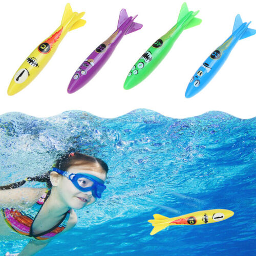 4pcs 2019 New Throwing Toy Swimming Pool Torpedoes Children Underwater Dive T/_UK