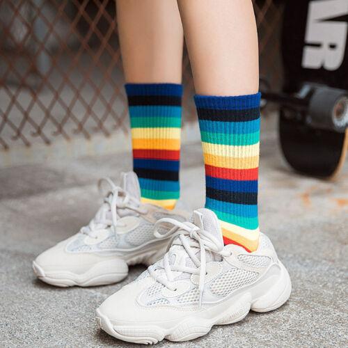 Women Multicolor Stripe Socks Mid Tube Socks Cotton Retro Style Rainbow Socks CA