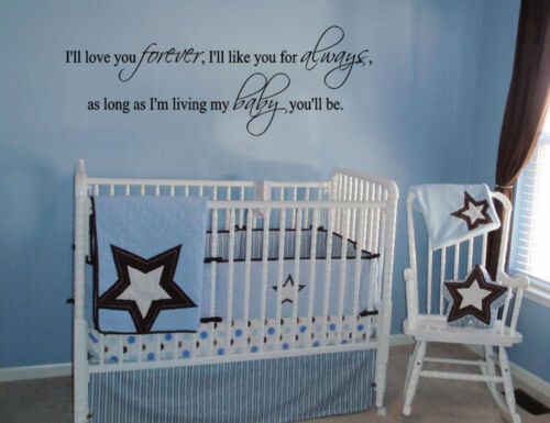 """I/'LL LOVE YOU FOREVER VINYL DECAL WALL LETTERING WORDS BABY QUOTE NURSERY 23/"""""""