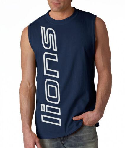 NEW Lions VERT SHIRT Sleeveless T-shirt LARGE XL 2XL Detroit Blue Wave Creations