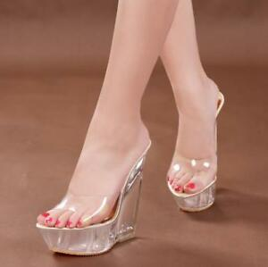 4946bd12ff3 Image is loading Womens-Transparent-Wedge -Clear-Slipper-Platform-Sandals-High-