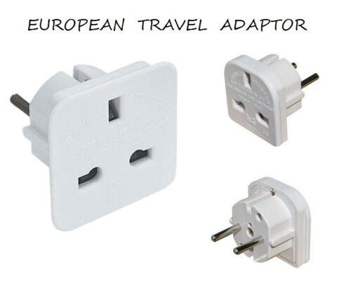 UK To Europe 2 Pin Euro European Travel Adaptor Plug Free P/&P White*CE Approved*