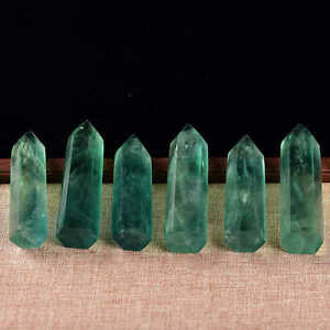 5Pcs-60-70mm-Natural-Green-Fluorite-Quartz-Crystal-Point-Wand-Rock-Healing-Reiki