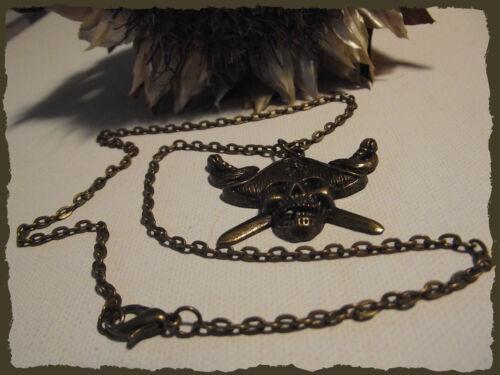 COLLIER Pendentif Pirate avec chaîne Bronze Homme Ras du cou