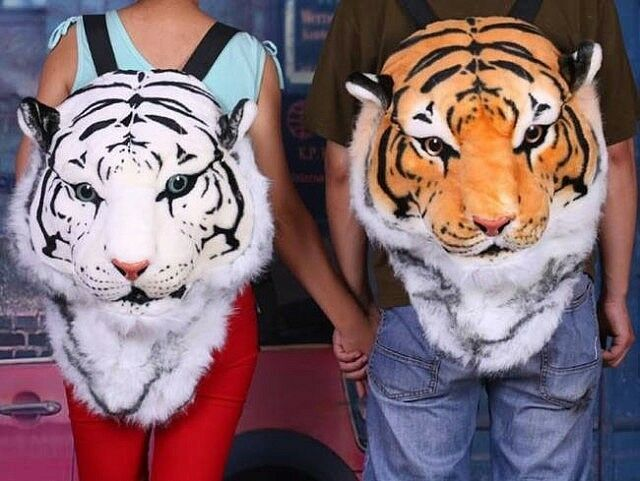 Fashion Unisex Animal Style Lifelike Tiger Head Bag Knapsack Spoof Backpack