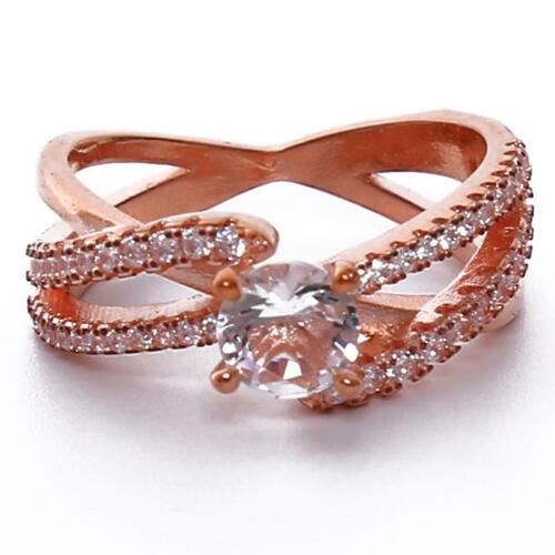 Diamond Criss Cross Rose Gold Ring Engagement Jewelry LA
