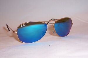 New RAY BAN Sunglasses 3562 112 A1 GOLD BLUE MIRROR POLARIZED 59mm ... 32990a35eb