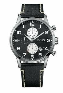 Hugo-Boss-1512569-Men-039-s-Aeroliner-Chronograph-Leather-Watch