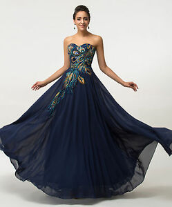 PLUS SIZE Peacock Long Chiffon Evening Formal Party Dresses ...