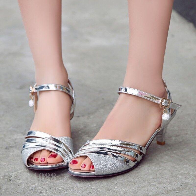 Ladies Kitten Heels Fashion sandals Party Wedding Dress shoes Sandals Dress Size