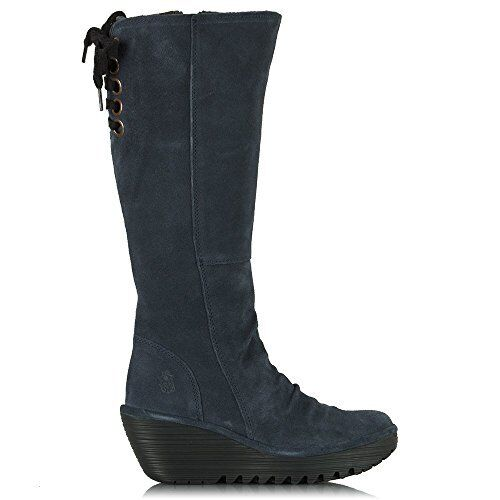 Fly London Women's Yust Suede Leather Navy Wedge Boots