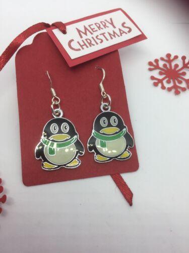 Regalos Para Ella regalo de Navidad relleno de aprovisionamiento Penguin pendientes pendientes de Navidad