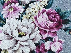 Nanas Cottage Floral on Dove Barkcloth Vintage Fabric Drape Curtain Shabby Chic