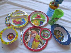 Beaucoup Nourriture De Bébé Plaques~ Bols ~ Coupes Sesame Street Elmo ~ L'ourson