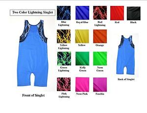 MENS EXTENDED SIZES TANK WRESTLING SINGLET WITH LIGHTNING ACCENTS- CHOOSE COLORS