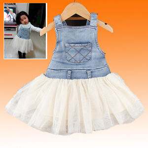 Kids-Baby-Girls-Clothes-Summers-Denim-Tulle-Dress-Overalls-Age-6M-4Y-Outfits