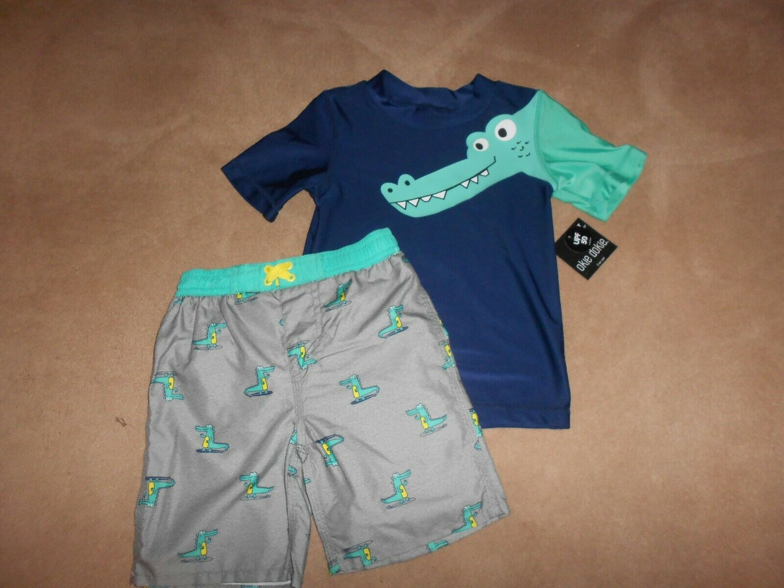 Carter/'s Just One You Alligator Rash Guard and Swim Trunks Sz 2T
