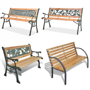 Super Details About Wooden Garden Bench 3 Seater Steel Wooden Outdoor Patio Seating Furniture Seat Machost Co Dining Chair Design Ideas Machostcouk