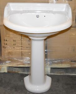 Details about Vogue Bathrooms BELTON SINK BASIN With Pedestal and Single  Tap Hole