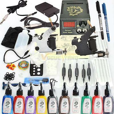 New 400 Pcs Tattoo Machines Kit Complete Set 2 Gun 10 Ink Power Supply Needles