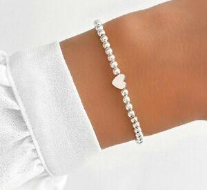 Filigranes Kugelarmband Herz Armband Liebe Perlen zart Partner Damen Frauen