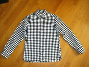 J Crew Mens M Slim Cotton Oxford Shirt in Multi-Gingham Blue White MEDIUM FAST
