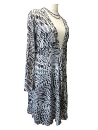 CA66 Caroline Ann Lagenlook Grey Abstract Print Tie Front Jacket Made In UK