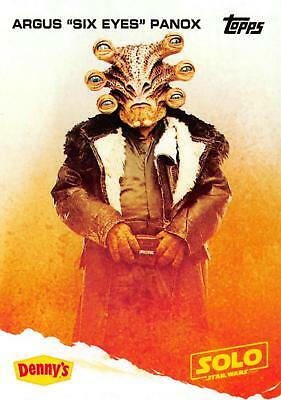 """A Star Wars Story DENNY/'S Solo Topps 2018 Trading Card ARGUS /""""SIX EYES/"""" PANOX"""