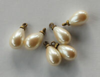 VINTAGE 6 ANTIQUE GLASS TEAR DROP PEARL BEAD PENDANTS DROPS • 15x8mm • brass top