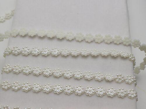 50 m ivoire Acrylique Flatback Perle Bead 7 mm Fleur Chaîne Garlan Bouquet Bobine