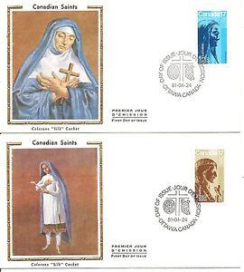 Canada-SC-885-886-Canadian-Saints-FDC-Colorano-Cachet
